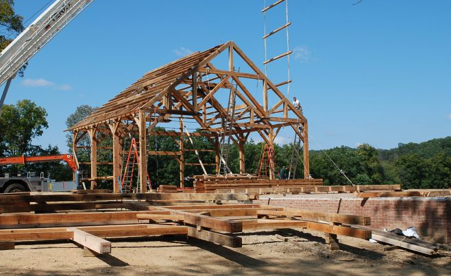 Raising the barn frame
