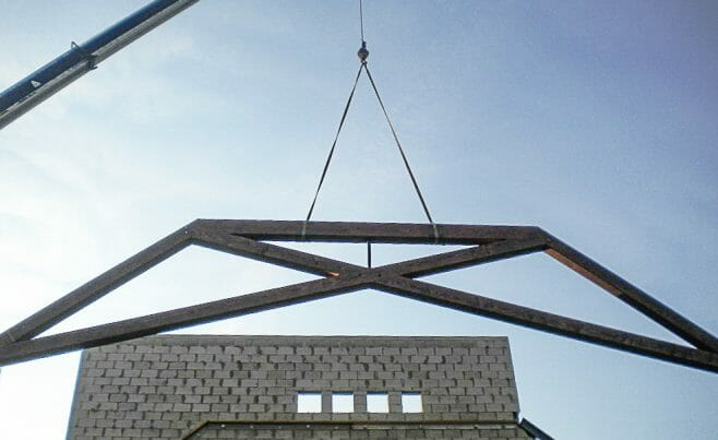 Modified Scissor Truss Church Raising