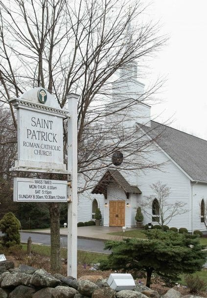 Exterior of Saint Patrick's Church in Redding, CT