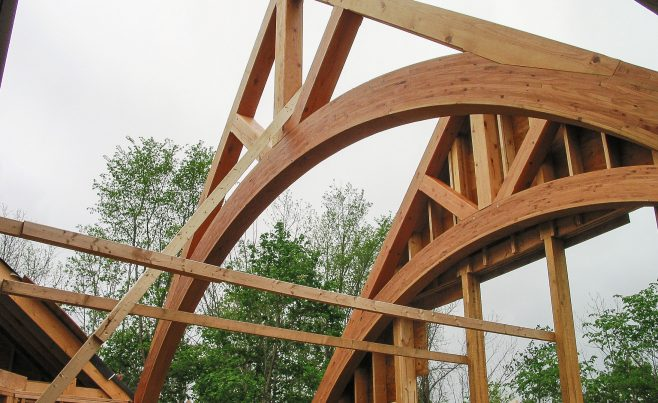 Timber trusses in place