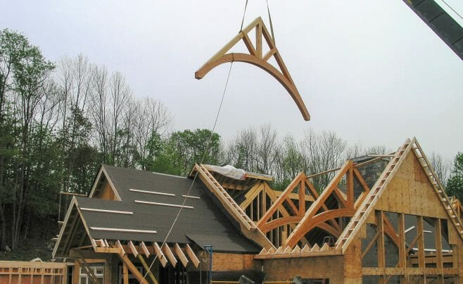 Arched king post trusses