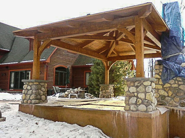 Exposed Heavy Timber Pool Shelter