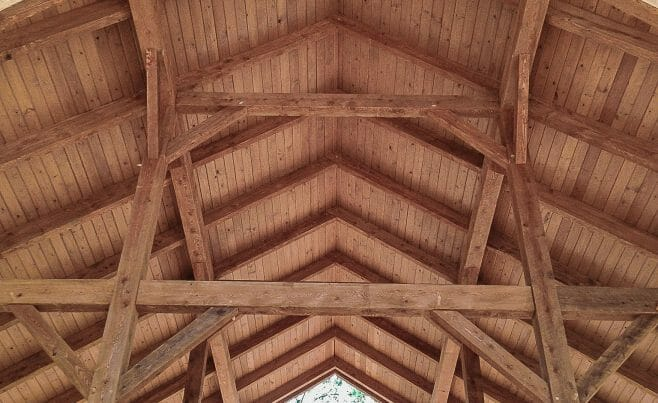 Post & beam ceiling for the horse barn