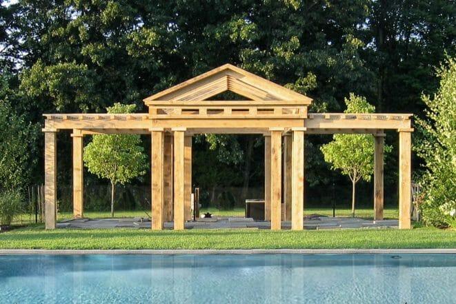 Pool house timber framed