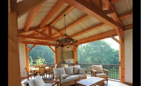 Modern rustic interior of a completed Timber Frame Pool house in New Jersey