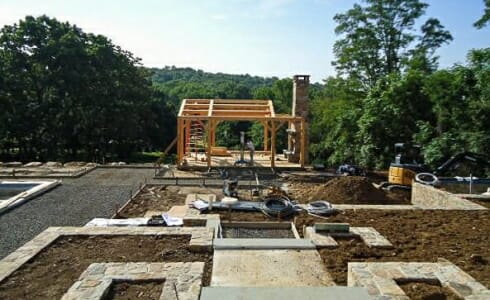 Timber Frame Pool House with Fireplace in New Jersey