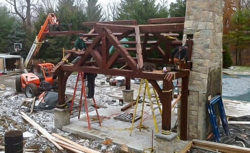 New Jersey Pool Pavilion being erected.