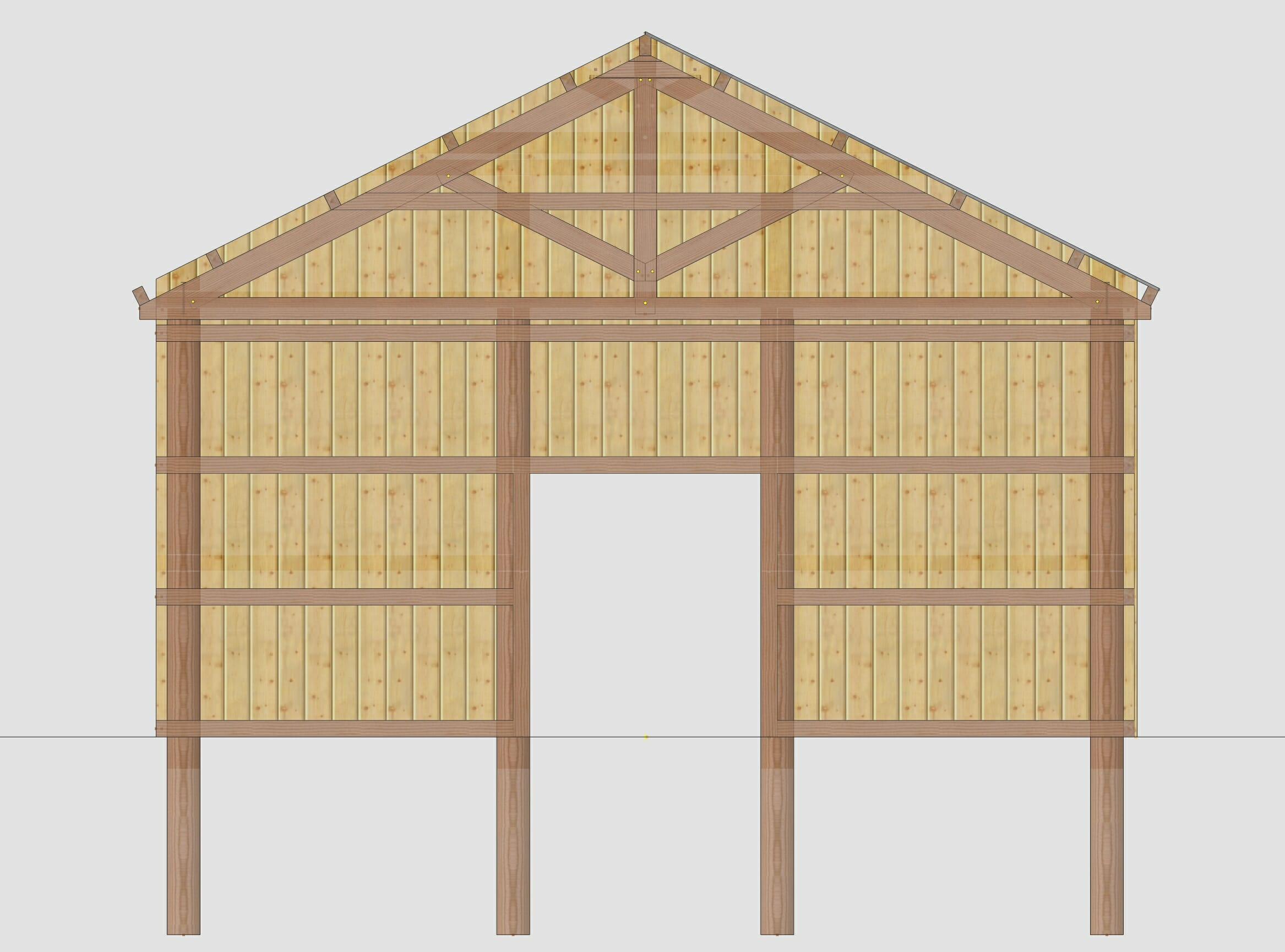 3D Model Showing the Elevation of a Pole Barn
