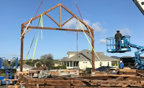 Raising the Napa California Barn and Rec Center on the Paul Estate