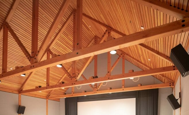 Queen Post Truss in the Billings Farm Auditorium and Theater in VT