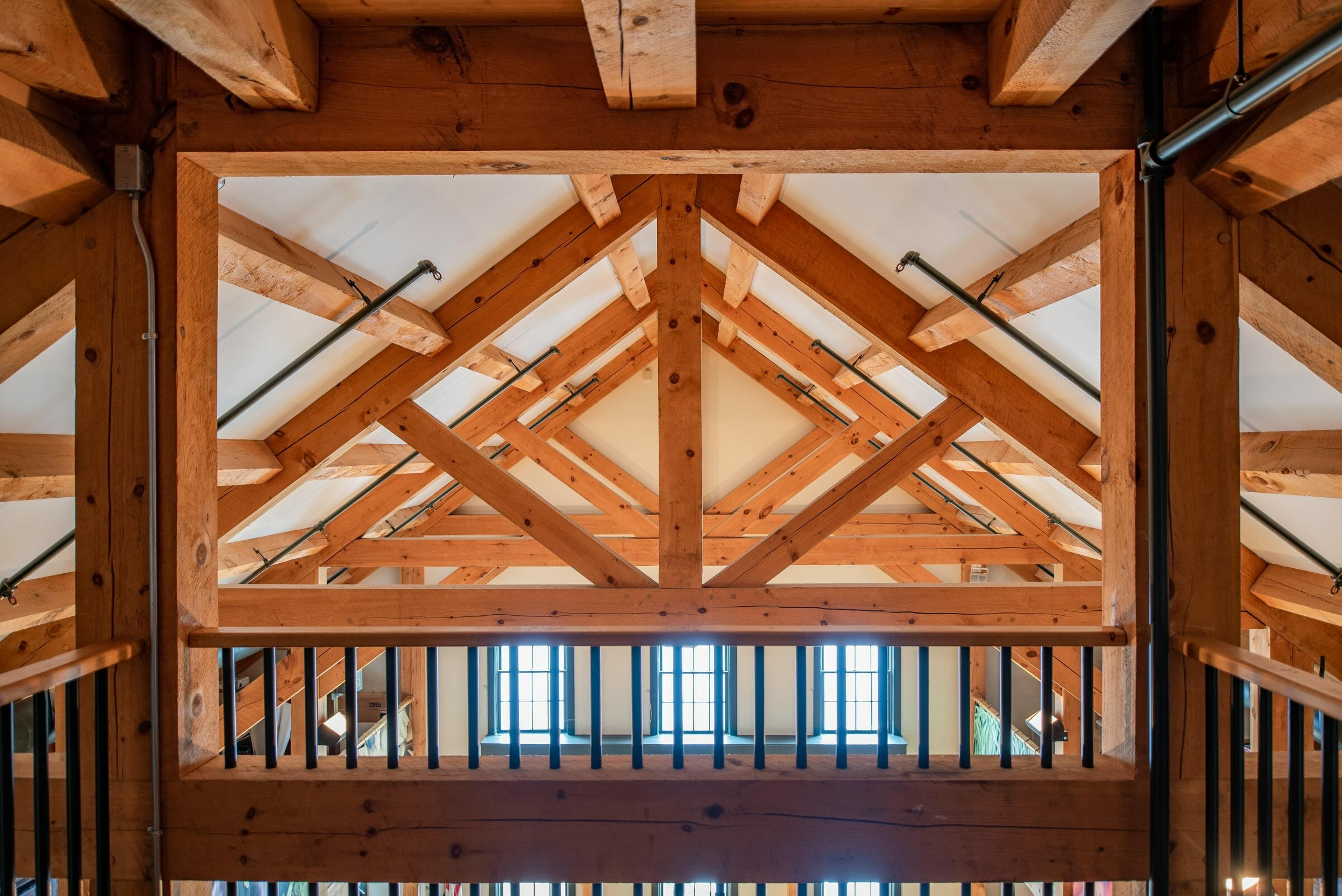Brigham Hill Barn Interior with Rough Sawn Timber Trusses from Hemlock and White Pine