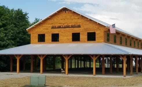 Jack Link Scout Timber Frame Wood Pavilion at Bechtel Summit