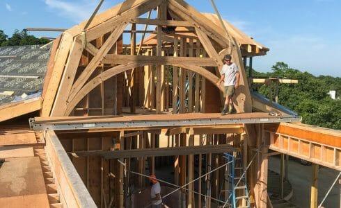 The Reclaimed Oak Hammer Beam Trusses in the Seven Gates Residence in Martha's Vineyard