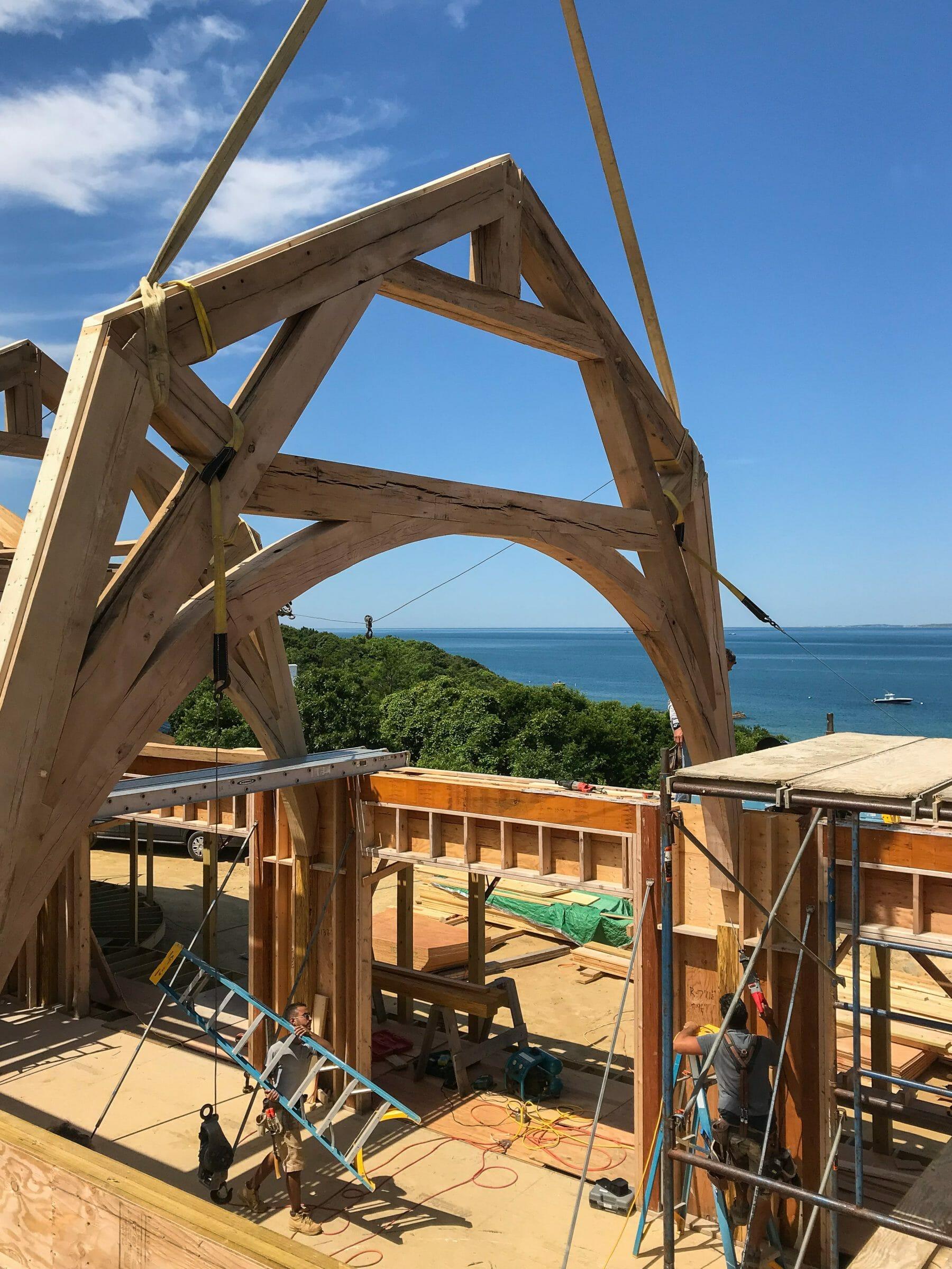 Seven Gates Residence Hammer Beam Truss Made from Reclaimed White Oak in Martha's Vineyard