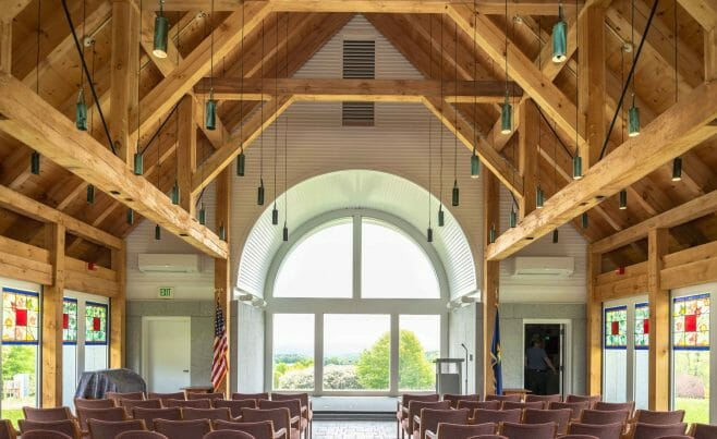 Interior of the Vermont Veterans Memorial Chapel. This church was made with Hemlock and Pine and features Girder Trusses.
