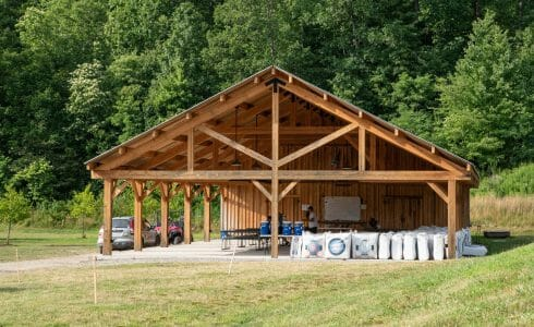 Timber frame pavilion at the Bechtel Summit in West Virginia home of the National Boy Scout Jamboree, leadership training, and Adventure Camp.