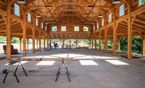Timber Frame Dining Hall with Trusses with Steel Plates under construction at the Bechtel Reserve home of the National Boy Scouts Jamboree