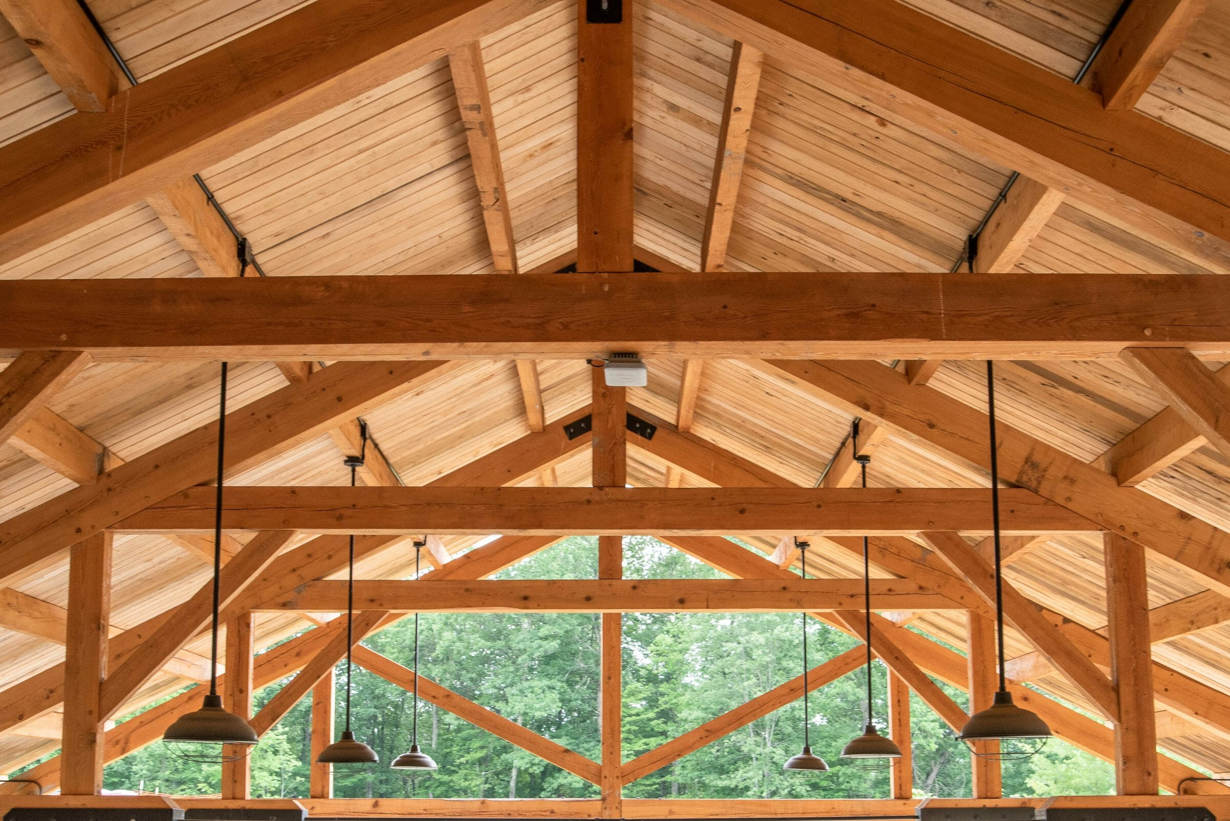 Wood Trusses with Steel Tie Rods in a Timber Frame Pavilion for BSA at the Bechtel Summit and Boy Scouts Jamboree