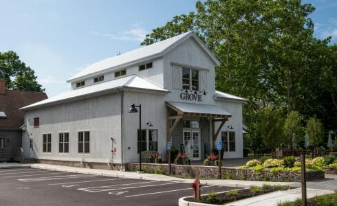 Exterior of the Briar Barn Inn in Rowley, MA. Built by Vermont Timber Works in the Monitor Barn Style.