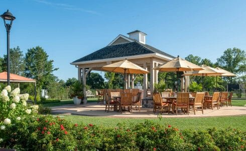 Timber Frame Pool Pavilion and covered Bar Lounge area at Fiddlers Elbow in Bedminster Township, NJ