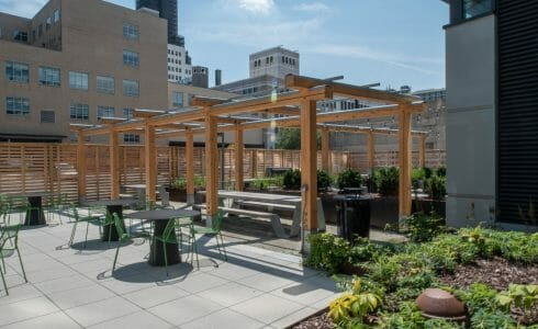The Hamilton Pergola in Philadelphia, PA features a White Oak Pergola with Aluminum capping.