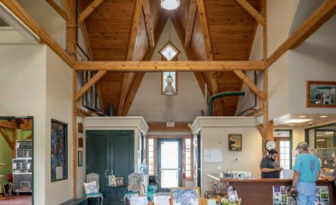 The Lobby of the True Friends Animal Welfare Center with Timber Trusses and beams in Montrose, PA