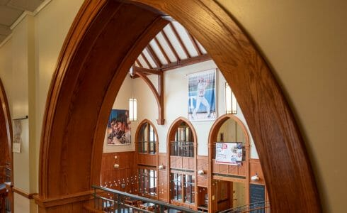 Wood Arch in the student center at Grove City College