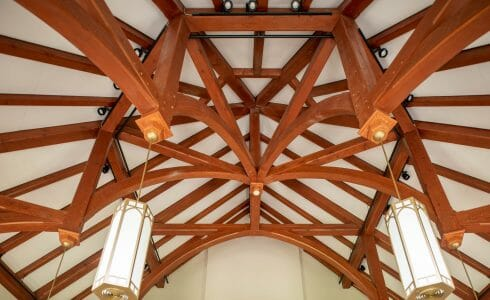 Timber Trusses and ceiling beams with a cathedral ceiling in a sanctuary in Grove City College, PA