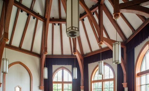 A round room with an octagon timber frame in the Grove City College, PA