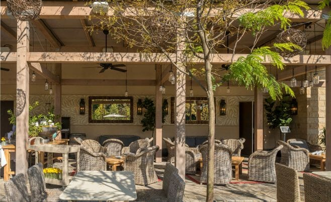 The Delamar Hotel Pergola Outdoor Dining and Seating Area in Hartford, CT