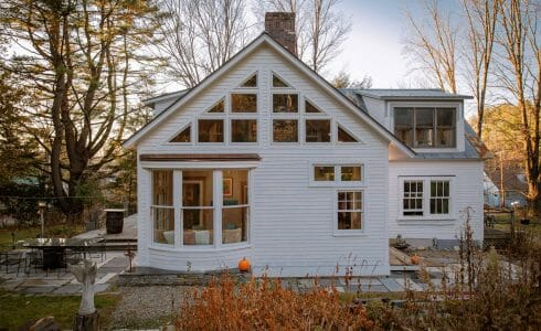 Vermont Home Sun Room Addition with natural, rough cut Hemlock.
