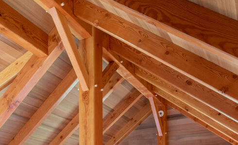 Traditional Joinery details featuring Timber Pegs in the Martha's Vineyard Guest Cottage
